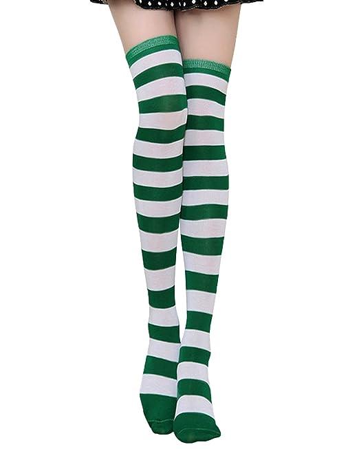 99e42123898 ZANZEA Women Stripe Casual Elegant Over The Knee Thigh High Long Stocking  Socks (US Medium