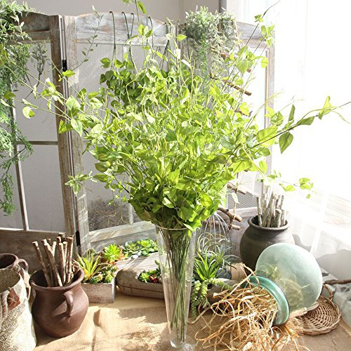 (Fine Artificial Plant Fake Leaves Foliage Grass Bush Wedding Party Home Garden Decor Clematis Evergreen Wicker Artificial Flower (Green) )