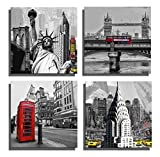 The Decor Shop - Canvas Prints Famous Scenery Pictures on Canvas Wall Art Paintings Giclee Artwork for Home Decoration Liberty, London Bridge, Telephone Booth, Yellow Taxi 12x12inch