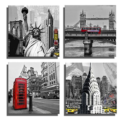 Yang Hong Yu Canvas Prints Famous Scenery Pictures on Canvas Wall Art Paintings Giclee Artwork for Home Decoration Liberty, London Bridge, Telephone Booth, Yellow Taxi 12x12inch