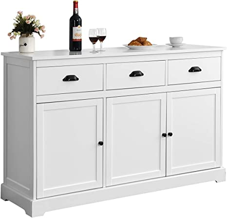 Amazon Com Giantex Sideboard Buffet Server Storage Cabinet Console Table Home Kitchen Dining Room Furniture Entryway Cupboard With 2 Cabinets And 3 Drawers Adjustable Shelves White White Buffets Sideboards
