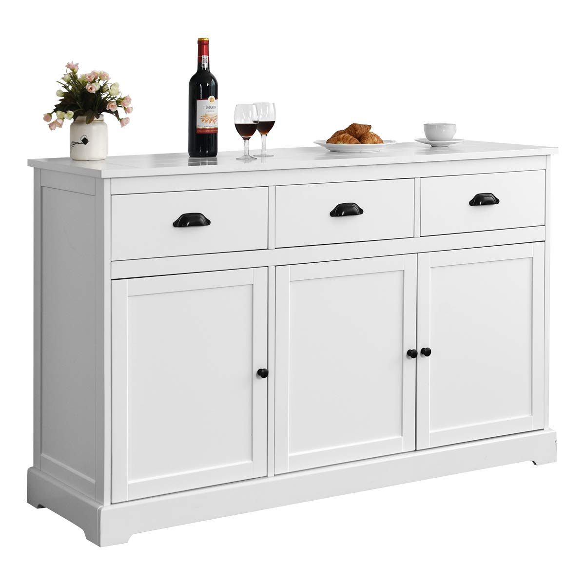 Giantex Sideboard Buffet Server Storage Cabinet Console Table Home Kitchen Dining Room Furniture Entryway Cupboard with 2 Cabinets and 3 Drawers Adjustable Shelves, White (White) by Giantex (Image #1)