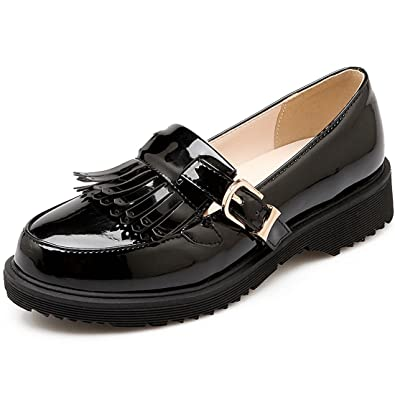 e0b6e33df50 Vitalo Women s Vintage Retro Patent Leather Buckle Tassel Loafers Slip On  Smart Work Office Shoes Black