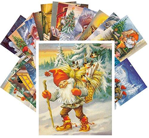 Postcard Set 24pcs Vintage Christmas Gnomes by Lars Carlsson Dwarwes