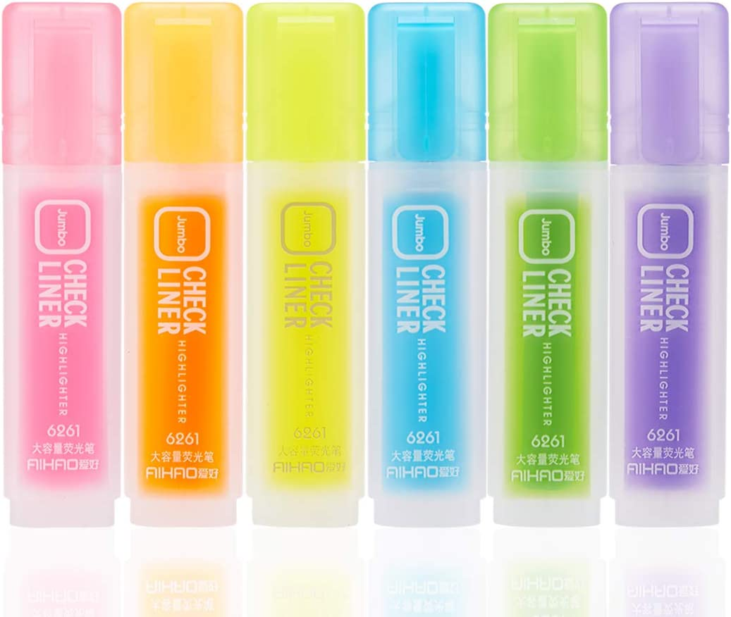 AIHAO 6261 High Capacity CHECK LINER Highlighters Chisel Tip Marker Pens (6 Assorted Colors) : Office Products