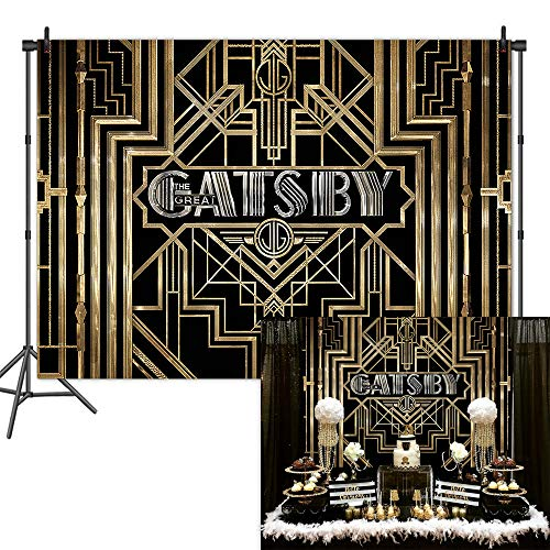 (Mehofoto The Great Gatsby Backdrop 1920s Retro Birthday Photography Backdrop 7x5ft Vinyl Gatsby Theme Party Banner)