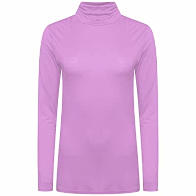 00e059ae327c06 Lvl Online Store Womens Polo Neck Top Stretch Long Sleeve Turtle Neck Plain  Ladies Jumper (