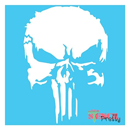 amazon com the punisher stencil scary horror skeleton skull