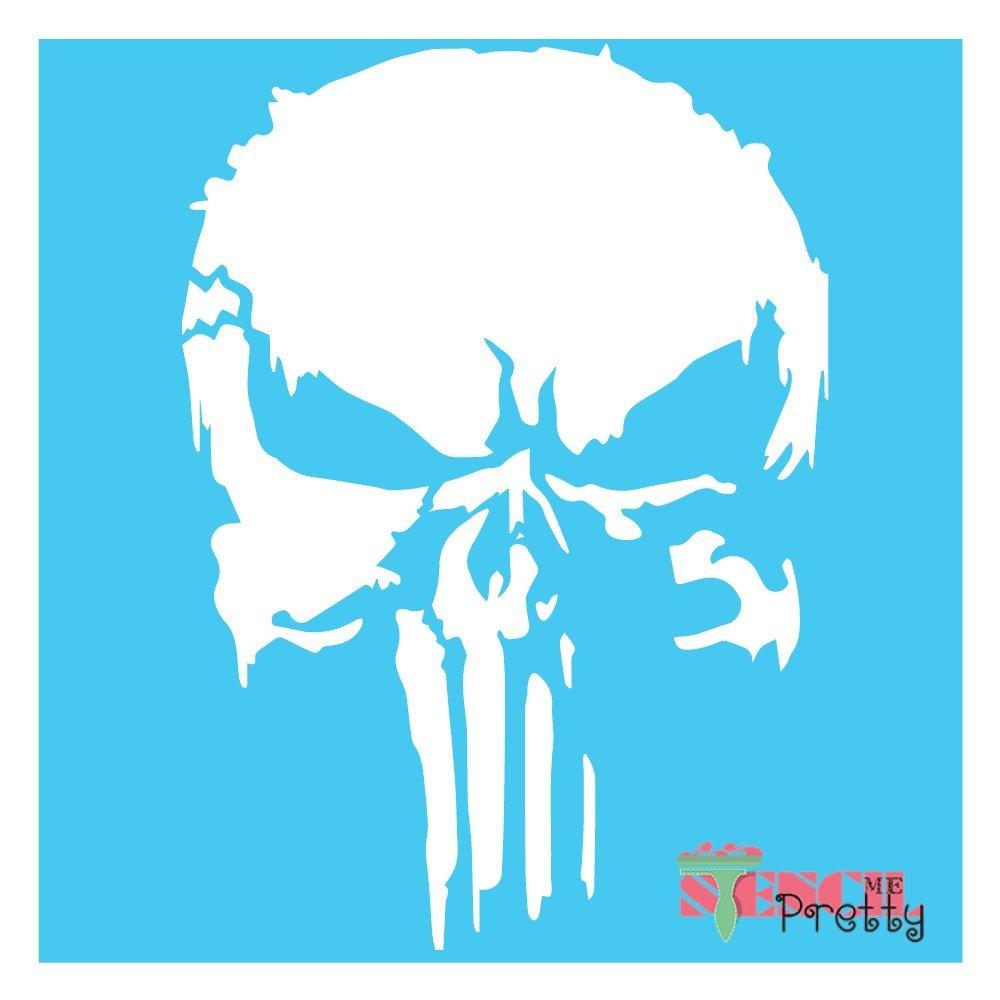 The Punisher Stencil - Scary Horror Skeleton Skull Template - Multipack (S,M,L)