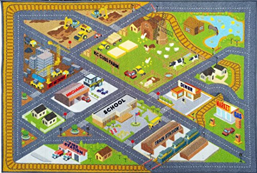 Giant Road Rug (KC CUBS Playtime Collection Country Farm Road Map With Construction Site Educational Learning Area Rug Carpet For Kids and Children Bedroom and Playroom (5' 0
