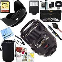 Nikon 2160 105mm f/2.8G ED-IF AF-S VR Micro-Nikkor Close-up Lens + 64GB Ultimate Filter & Flash Photography Bundle