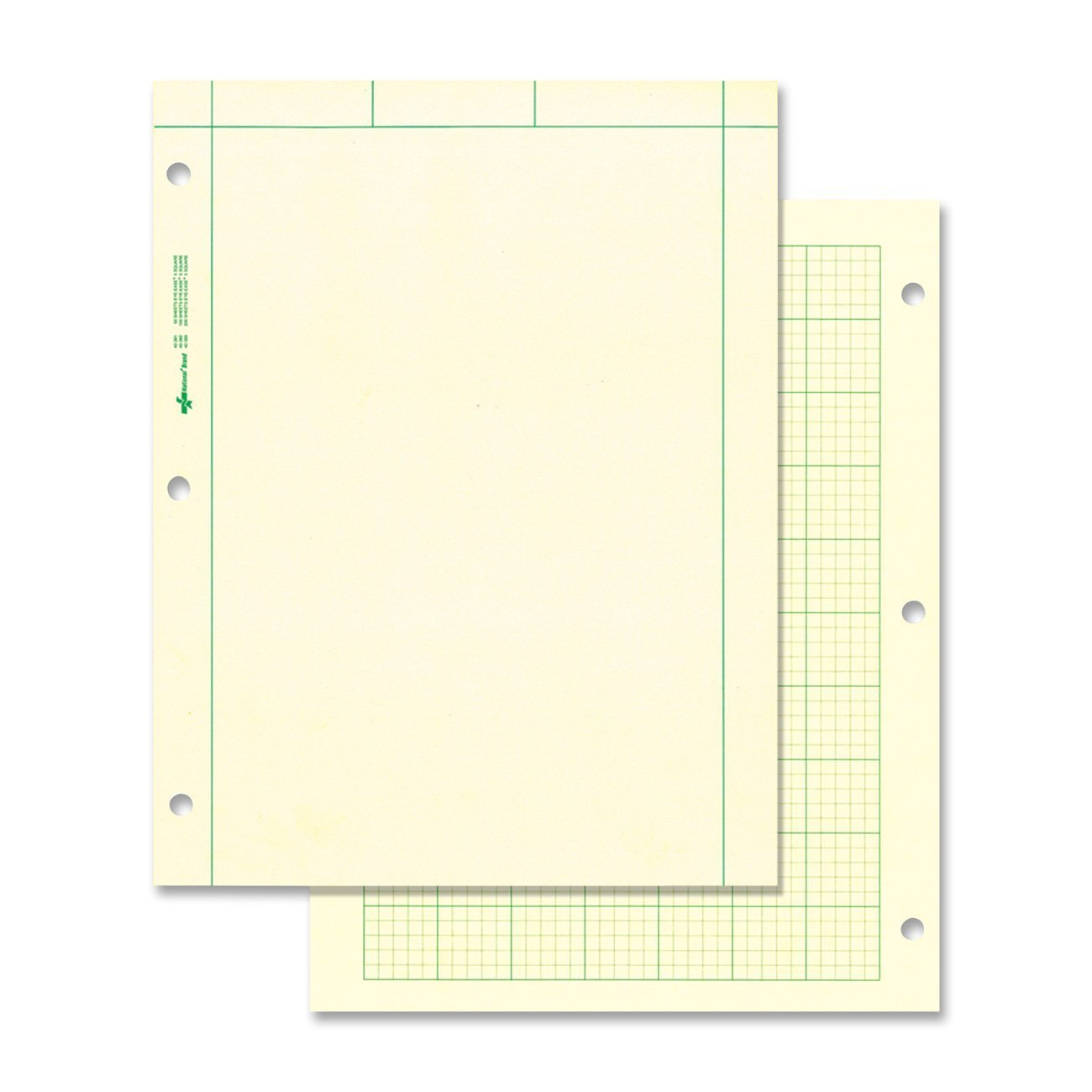 NATIONAL Brand Computation Pad, Plain on Front Side / 5 X 5 Quad on Back Side, Green Paper, 8.5 x 11'' 200 Sheets (42389)