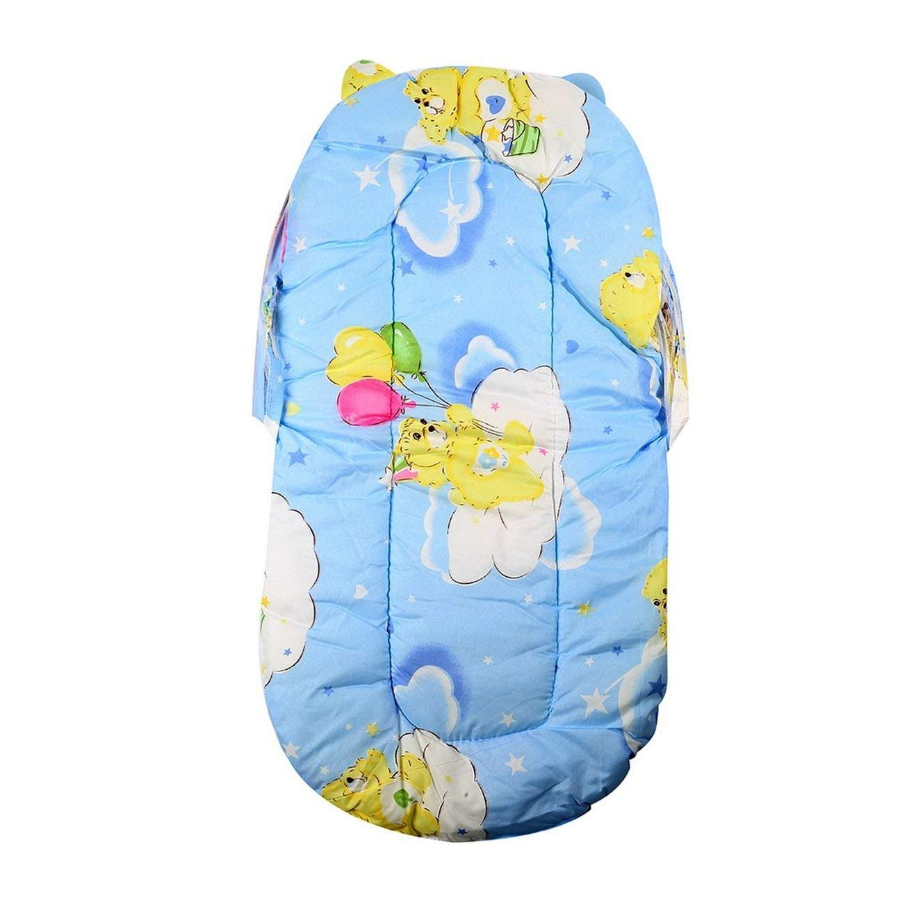 Pieghevole New Baby Cotone imbottito Materasso Infantile Letto Cuscino Zanzariera Tenda Stand per bambini Accessori per lettino Hung Dome Pavimento blu