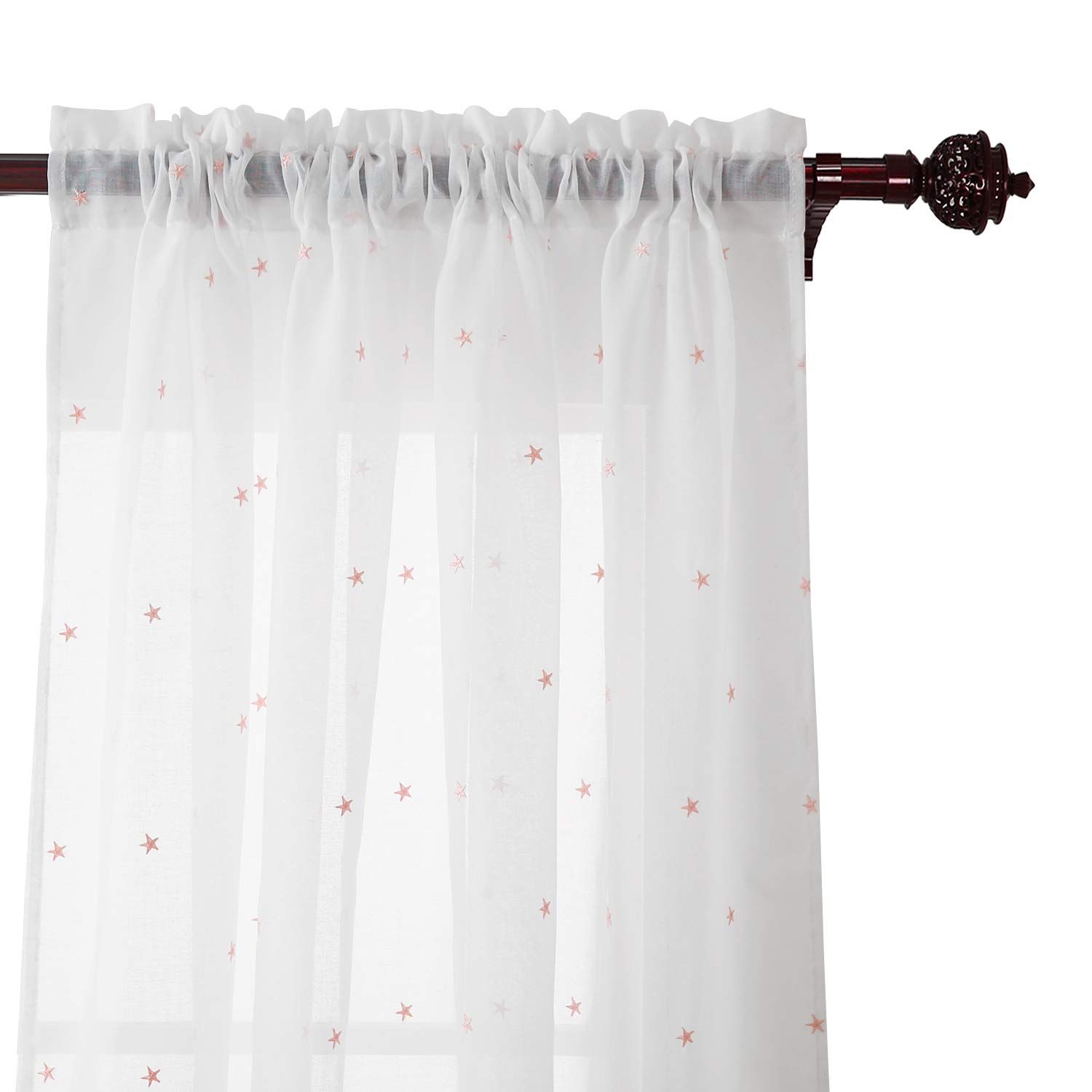 Deconovo Sheer White Curtains 96 Inches Long Star Sheer Curtains Rod Pocket Sheer Curtains for Living Room 52x96 Inch Pink Star 2 Panels