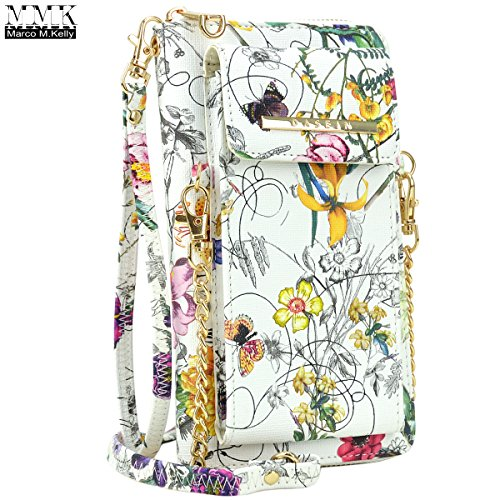 MMK collection Crossbody Bag ~Messenger Purse(2830)~ Crossbody Bag for Women~multiple pocket Messenger handbag. (MA-XL-19-3020-white flower)