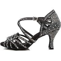 Satén Brillando Rhinestone Hebilla Cruzada latino modernos Salsa Tango Zapatos baile Tacon alto Mujer Antideslizante Fondo blando Sandalias