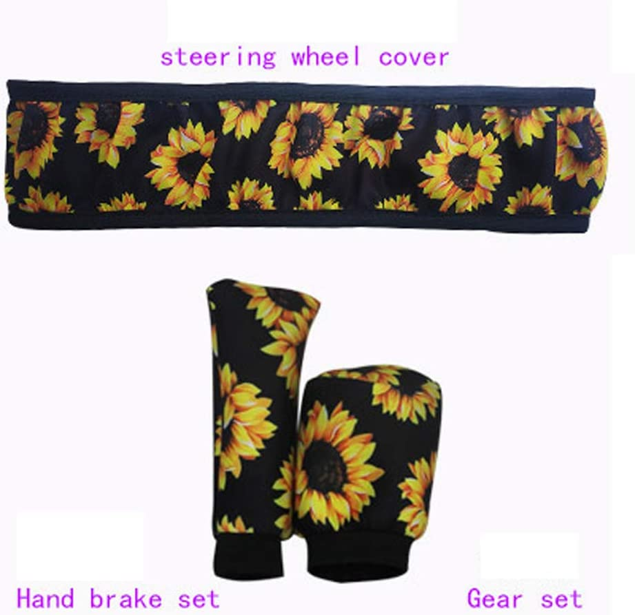 Sunflower ALVAZA Fashion Non-Slip Elastic Steering Wheel Cover Handbrake Cover Gear Shift Cover Car Decoration 3 Pcs Four Seasons Universal Cute Car Accessories for Women and Girls