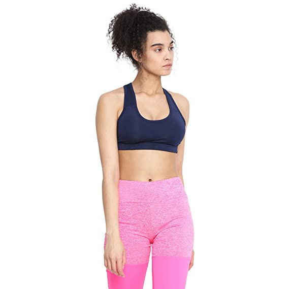 62352f7f3 CHKOKKO Polyester Women s Sports Gym Running Racer Back Non Wired Padded Sports  Bra Navy Size XS