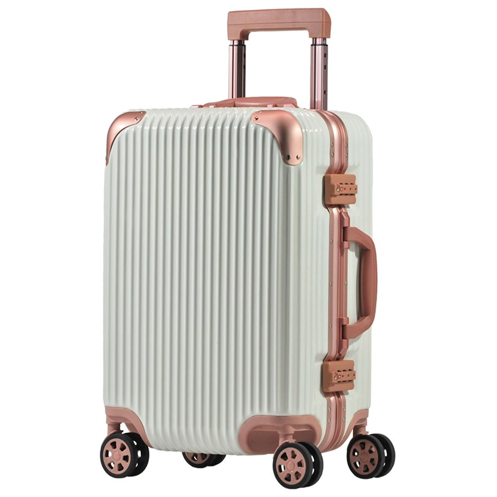 スーツケース アルミフレーム 機内持込~大型 軽量 超消音 ダブルキャスター 8輪 TSA キャリーケース キャリーバッグ B074XT7CKW L(5~7泊)-66L|ホワイト/ローズ ホワイト/ローズ L(5~7泊)-66L