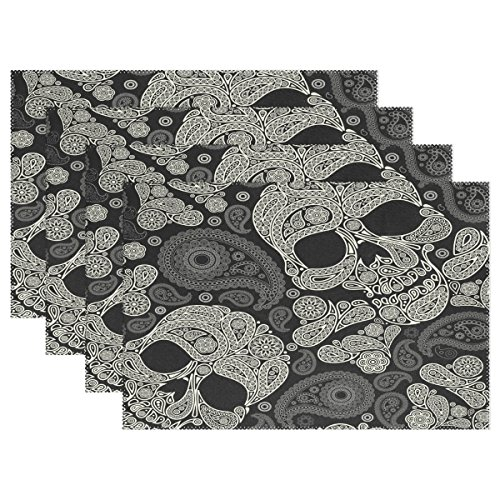 WOZO Paisley Sugar Skull Placemat Table Mat, Day of the Dead Dia De Los Muertos 12″ x 18″ Polyester Table Place Mat for Kitchen Dining Room Set of 4