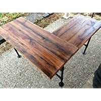 Rustic Reclaimed Barn Wood L Desk Table - Solid Oak W/ 28 Black Iron Pipe legs.