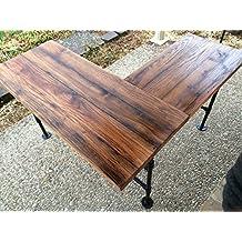 """Rustic Reclaimed Barn Wood L Desk Table - Solid Oak W/ 28"""" Black Iron Pipe legs."""
