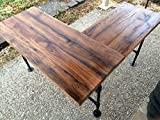 Rustic Reclaimed Barn Wood L Desk Table - Solid Oak W/28