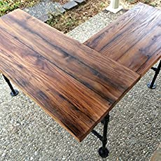 rustic reclaimed barn wood l desk table solid oak w 28 black iron pipe black iron pipe table