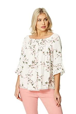 2fa8104286ba5 Roman Originals Women Floral Print Bardot Top - Ladies Off The Shoulder 3 4  Sleeve Pastel Going Out Fashionable Tops - Ivory  Amazon.co.uk  Clothing