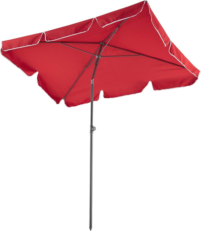 TecTake 800683 - Sombrilla de Aluminio, para Balcones y Terrazas, Protección Solar UV 50+, Inclinable y Regulable, 200x125x235 cm (Burdeos | No. 403138)