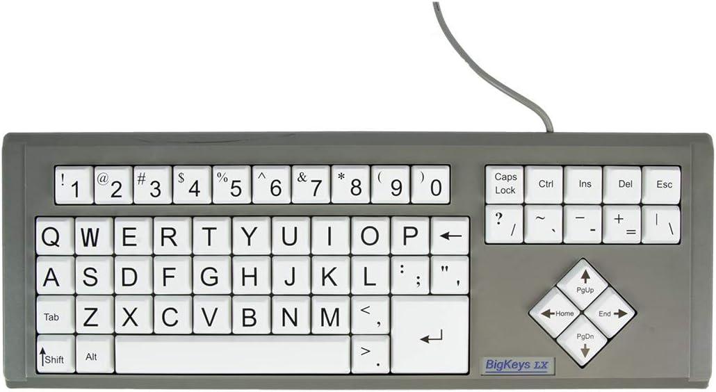 AbleNet BigKeys LX - Teclado para ordenador (impresión grande, USB, con cable), color blanco