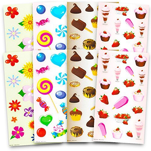 Scented Stickers Variety Pack ~ Over 130 Scratch and Sniff Stickers for Kids Teachers (Fruit, Flowers, Candy, Chocolate)