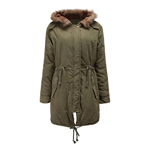 416b6203391 Dreamyth-Winter Women Outwear Warm Long Jacket Fur Collar Hooded Coat Plus  Size Parka Windbreaker