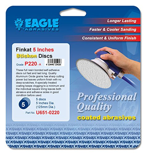 Eagle U651-0220 - 5 inch Finkat Stickon Discs - Grit P220 - (Job-Pak) - 5 Discs/Pack - 1 Pack
