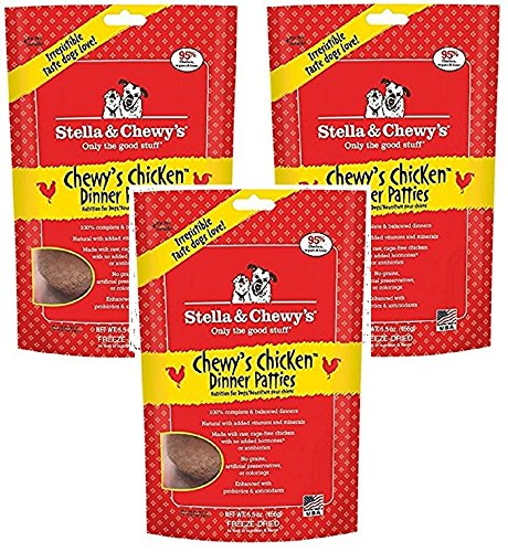 Stella & Chewy's Freeze Dried Dog Food for Adult Dogs, Chicken Patties, 5.5oz (3 Pack)