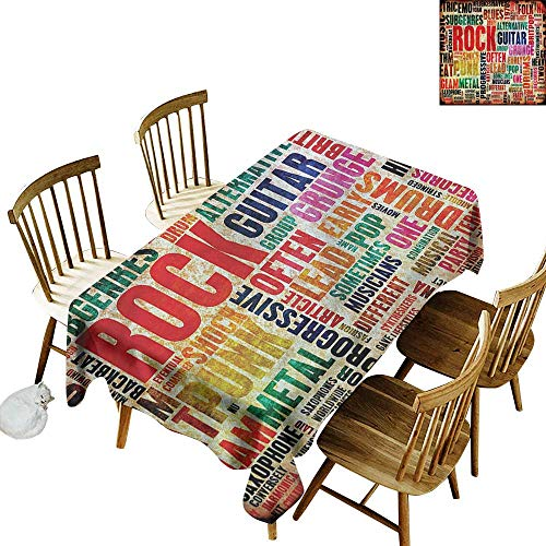 Rock Card Roll Music N - Custom Tablecloth Music Music Rock n Roll Poster Party Decorations Table Cover Cloth 60