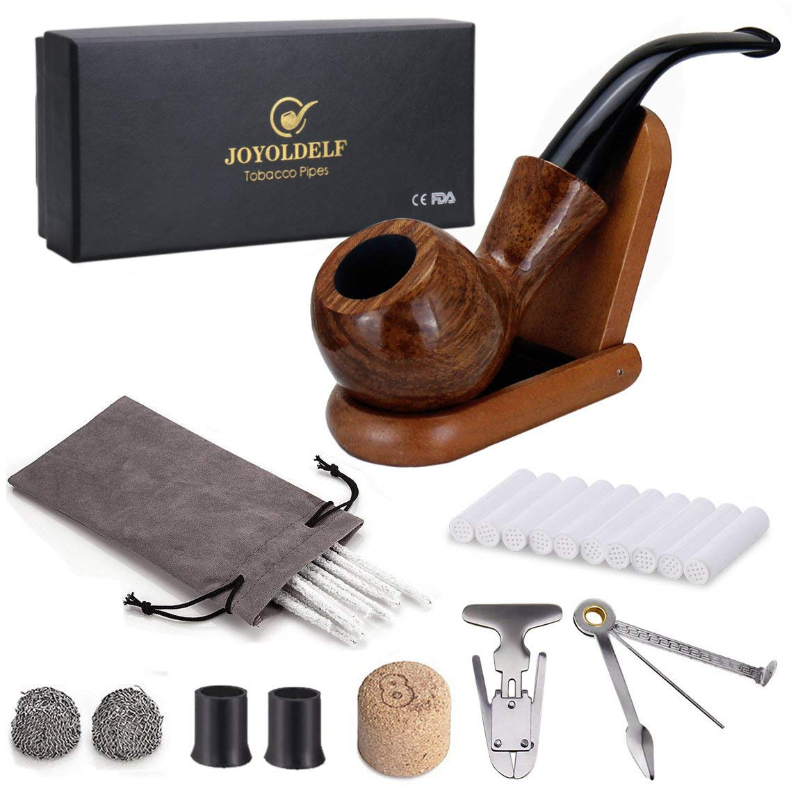 Joyoldelf Rosewood Tobacco Pipe Set with Wooden Stand, Reamer & 3-in-1 Pipe Scraper, 20 Pipe Cleaners & 10 Pipe Filters, 2 Pipe Bits & Metal Balls, Cork Knocker, Pipe Pouch, Bonus a Gift Box by Joyoldelf