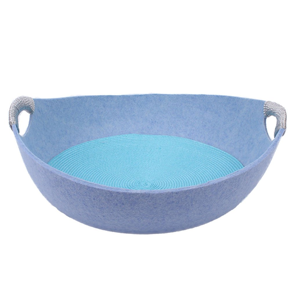 bluee 404025cm bluee 404025cm Dogs Beds Furniture Bed Blankets Spring Summer Cat Bed Pet Bed Kennel Removable Four Seasons Cat House Pet Rest Area Pet Products Cat House Felt Nest (color   bluee, Size   40  40  25cm)