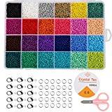 Naler Pony Bead, 24000pcs in Box Glass Seed Beads, Size 2mm Seed Beads for Jewelry Making Finding Art Craft Decoration DIY Bracelets(1000pcs/Color, 24 Colors)