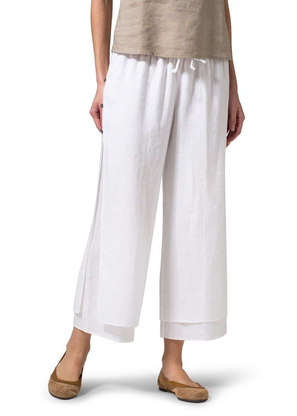 Linen Double-Layer Cropped Pants With Sea Shell Button-L-White/White