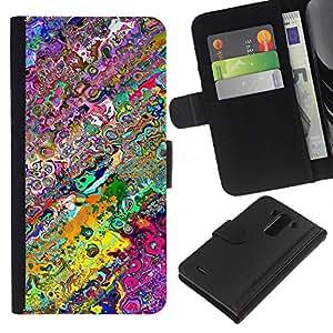 LG G3 D855 D850 D851 , la tarjeta de Crédito Slots PU Funda de cuero Monedero caso cubierta de piel ( Wallpaper Neon Colors Random Modern Art)