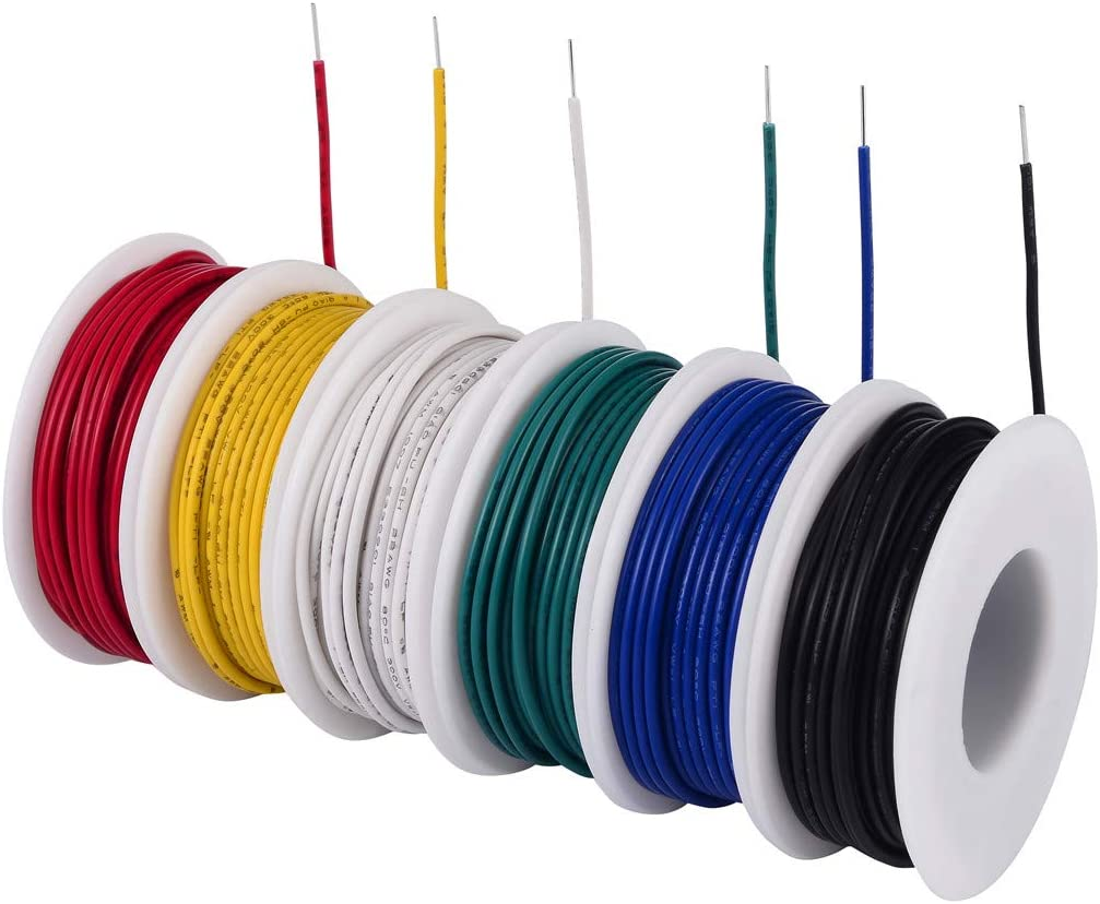 TUOFENG solides 22 AWG Wire-Solid Wire Kit-6 Différentes Couleurs Bobines De 9 M 22