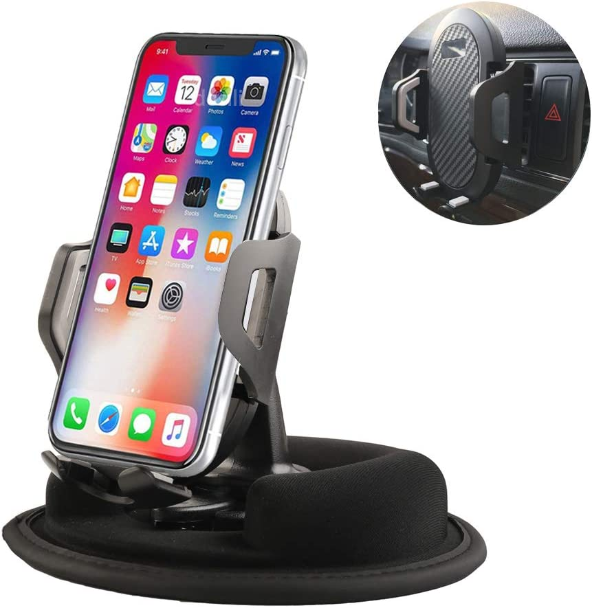 Dosili Cell Phone Vehicle Mount,Dashboard Beanbag Friction Mount,2 in 1 Dashboard Mount and Car Air Vent Holder,for iPhone Android and Other Smartphones