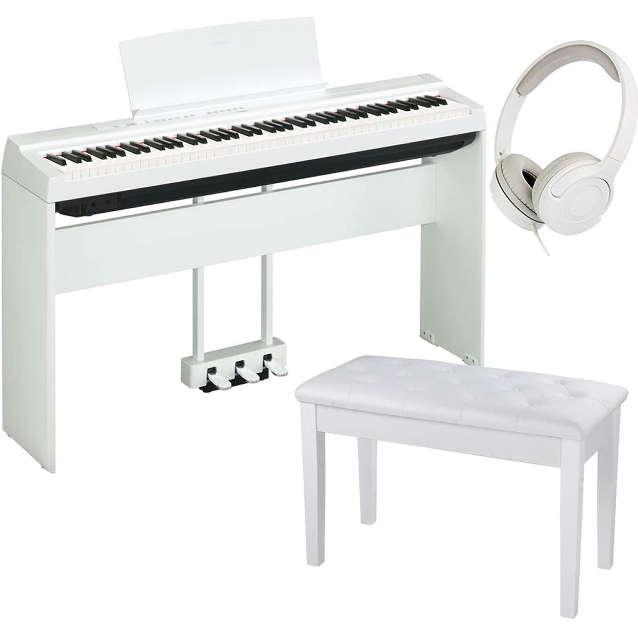 Yamaha P125WH 88-Key Digital Piano White bundled with the Yamaha L125WH Piano Stand, the Yamaha LP1WH 3-Pedal Unit, Padded Piano Bench, and On-Ear Stereo Headphones by Genesis Bundles