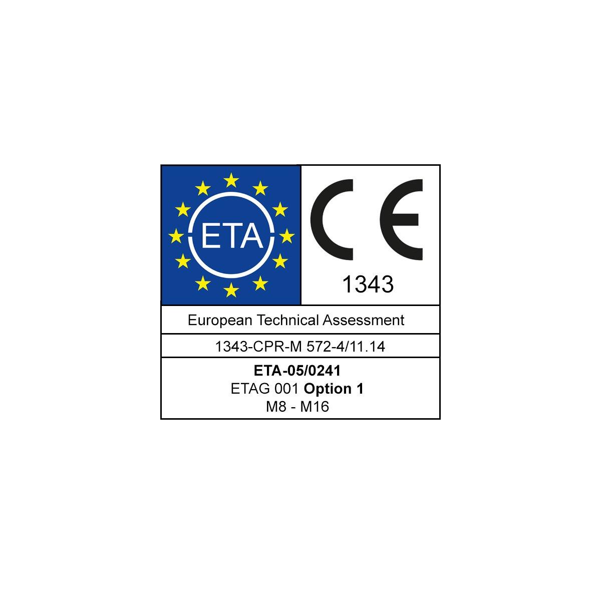ETA Option 1 Bolzenanker Schwerlastdübel Keilanker Ankerbolzen M8-M16 verzinkt