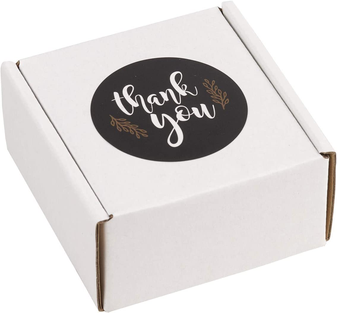 """RUSPEPA 25 Pack Shipping Boxes Attached 25 PCS Thank You Stickers, Small Recyclable Corrugated Cardboard Box Mailers Perfect for Shipping - 4"""" x 4"""" x 2"""" - Oyster White"""