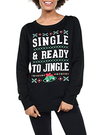 tipsy elves womens single and ready to jingle christmas sweater x small - Black Ugly Christmas Sweater