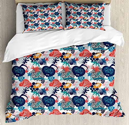 Lunarable Aquarium Queen Size Duvet Cover Set, Heart Shaped Stingray and Fish with Dots Doodle Style Underwater Community Design, Decorative 3 Piece Bedding Set with 2 Pillow Shams, Multicolor