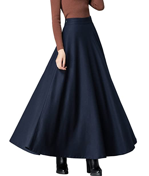 68aa4b15dc Femirah Women's Blue Winter Warm Wool Skirt Maxi Long Woolen Skirt (Waist:  60cm-