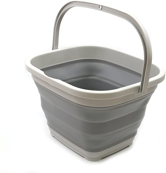 SAMMART 10L (2.6 gallon) Collapsible Rectangular Handy Basket/Bucket (1, Grey)